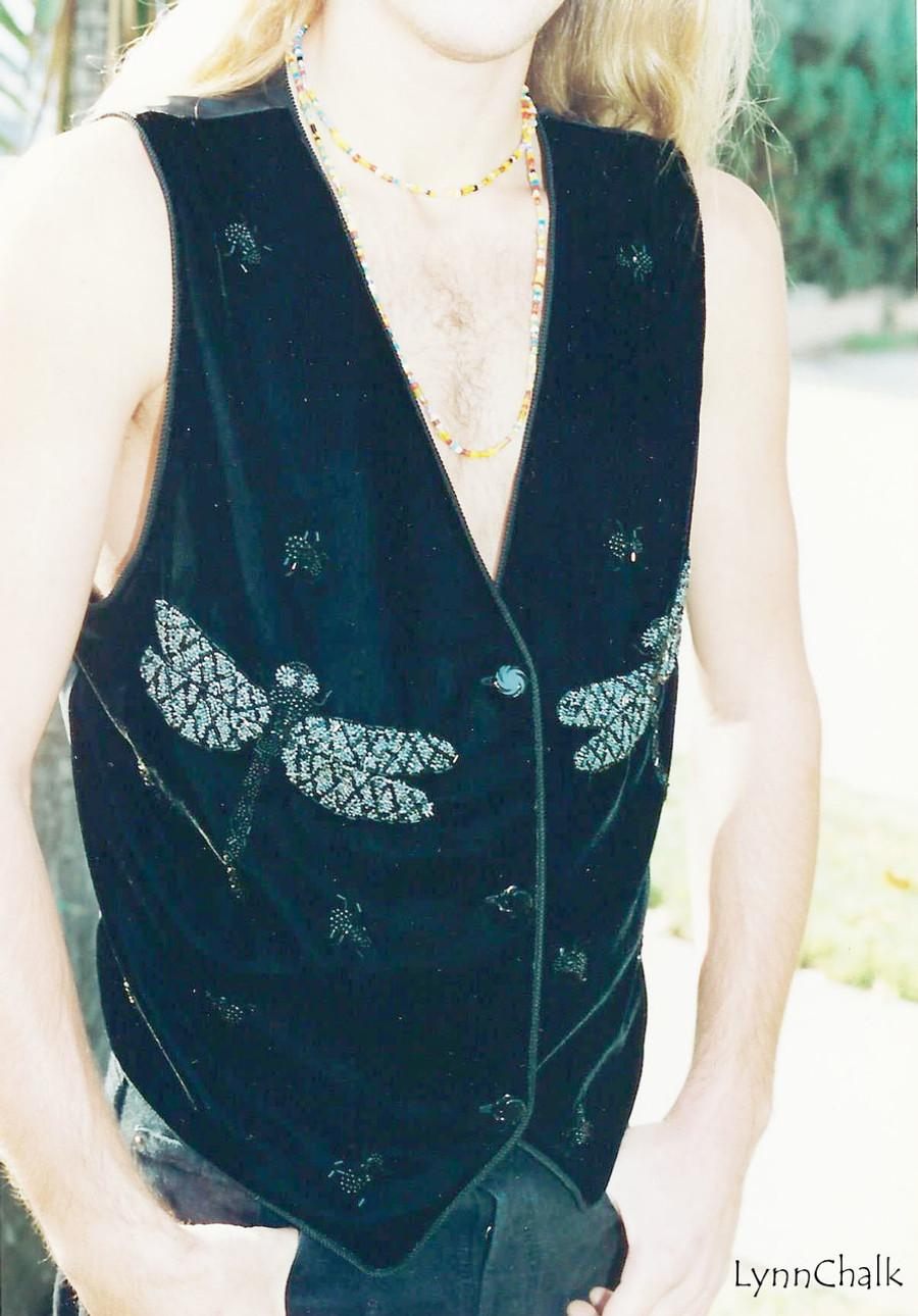 Black Velvet Dragonfly Hand Beaded Vest with Black Glass Buttons