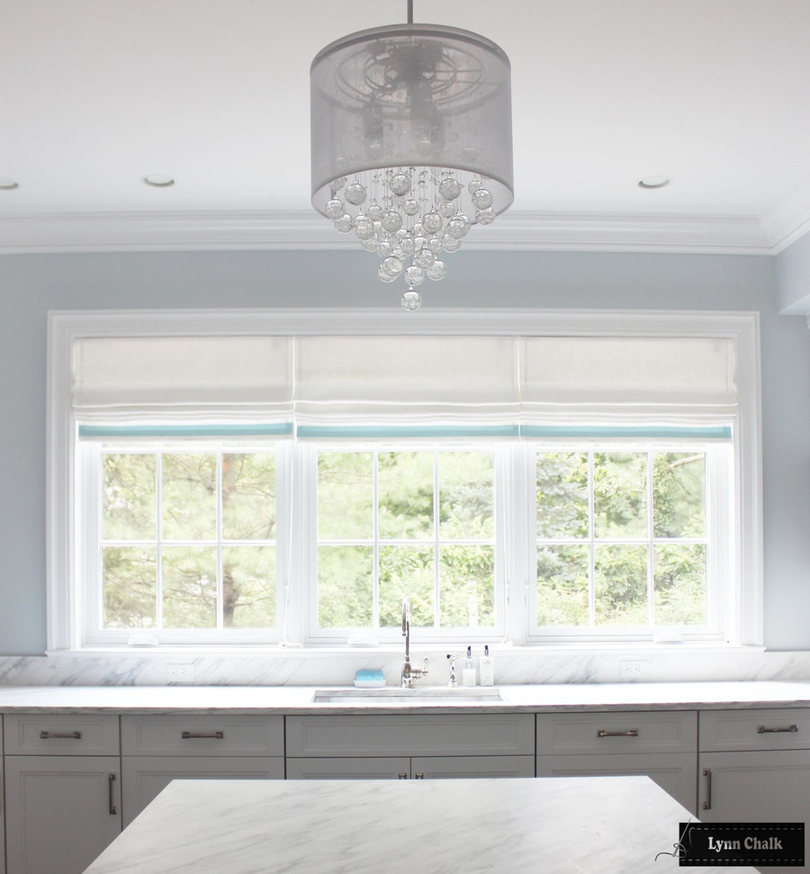 """Roman Shade in Off White Linen with Samuel & Sons 2"""" Grosgrain Ribbon Trim on Bottom in Baby Blue"""