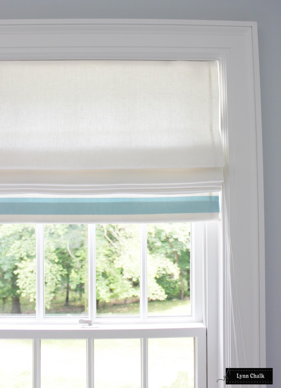 "Roman Shade in Off White Linen with Samuel & Sons 2"" Grosgrain Ribbon Trim on Bottom in Baby Blue"