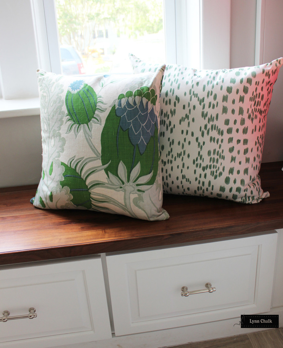 ON SALE Brunschwig & Fils/Lee Jofa Les Touches Green Pillows (18 X 18) Only 2 Pillows Remaining At This Sale Price