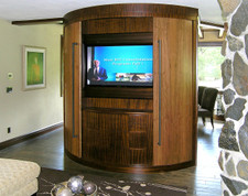 Tineo and Sapele Wood Veneer Entertainment Center