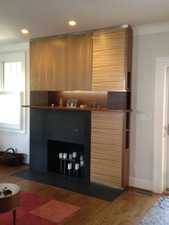 Fireplace Surround with Zebrawood, Walnut and Wenge