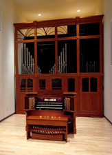 Mahogany and Birch Veneer Pipe Organ