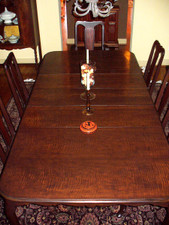 Figured Walnut Veneer Dining Room Table