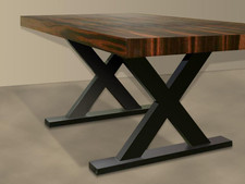 Macassar Ebony Veneer X-Leg Table