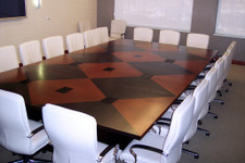 Walnut, Cherry and Ebony Veneer Conference Table