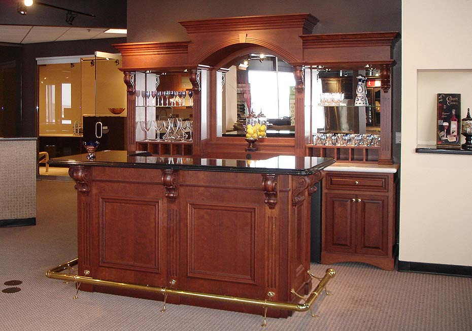 Cherry veneer wet bar oakwood veneer - Wet bar for home ...