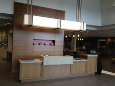 Teak Veneer Reception Desk
