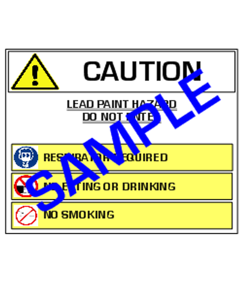 English Version of: Caution, Lead Paint Hazard, with Symbols  - RRP Sign In 10 Languages - Downloadable Product. Never Order Signs Again - Order, Download, Save, and Print as Needed.