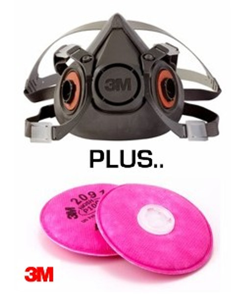 3M, Half Face Piece, Reusable Respirator with Free Filter Disc with Mask Purchase, Compliant for EPA's RRP Program when used with correct filters (P100 disc) also Available Here