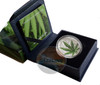 Cannabis Sativa High Relief Concave 1000 Fr BENIN 2016 1 oz Silver Proof Coin