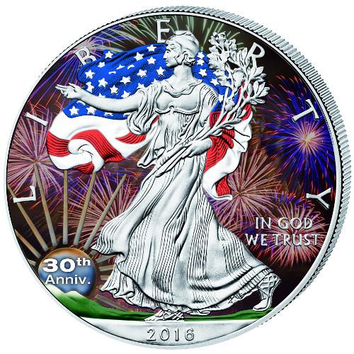 30th. Anniversary Color LIBERTY - 2016 1 oz Silver Eagle Coin