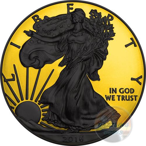 WALKING LIBERTY Gold Shadows 1 Oz Silver Coin 1$ US Mint 2016 rev