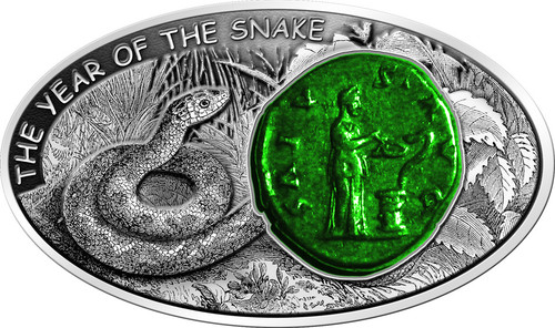Salus Snake 2013 Fiji $10 1oz silver coin antique Finish