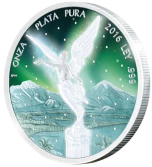LIBERTAD Frozen Rhodium Aurora 1 Oz Silver Coin Mexico 2016