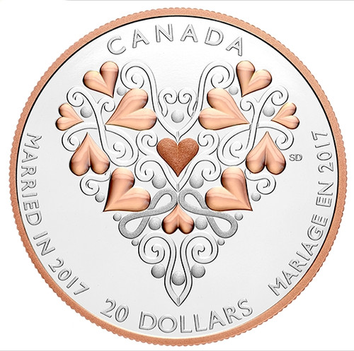 Wedding Day Heart - 1 oz. Pure Silver Coin w/ Pink Gold Plating 2017 r