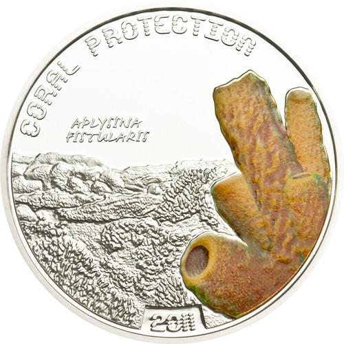 CORAL Aplysina Fistularis Tuvalu $1 2011 Silver Proof Coin