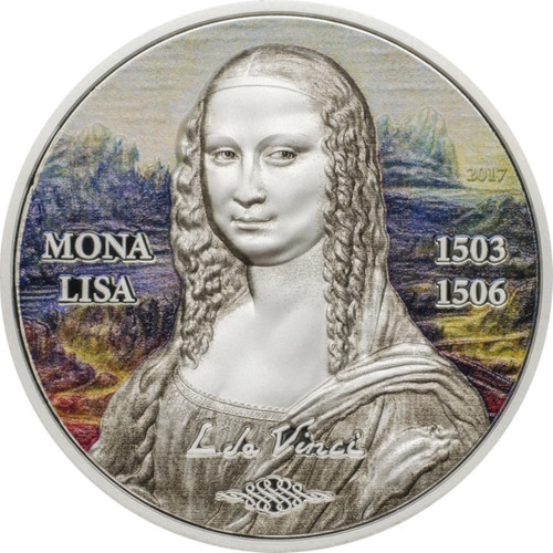 MONA LISA High Relief 1 oz Silver Proof Coin Palau 2017