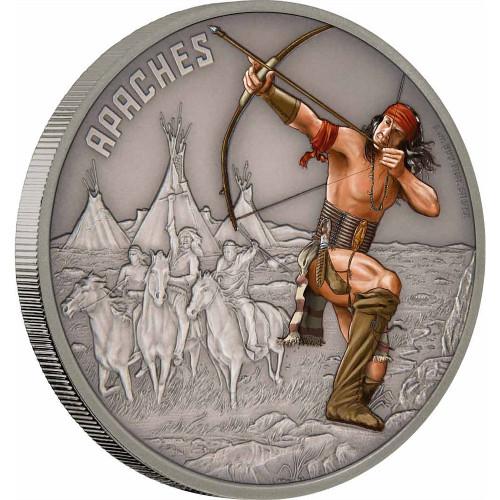 WARRIORS OF HISTORY - APACHE - 2016 1 oz Fine Silver Coin - Niue