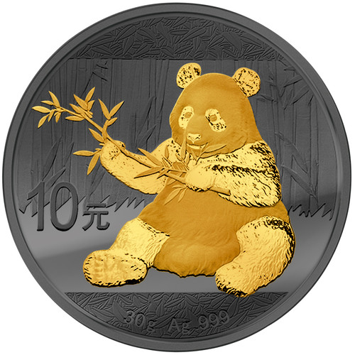 GOLDEN ENIGMA –10 Y Panda Silver 24 K Gold Black Ruthenium China 2017