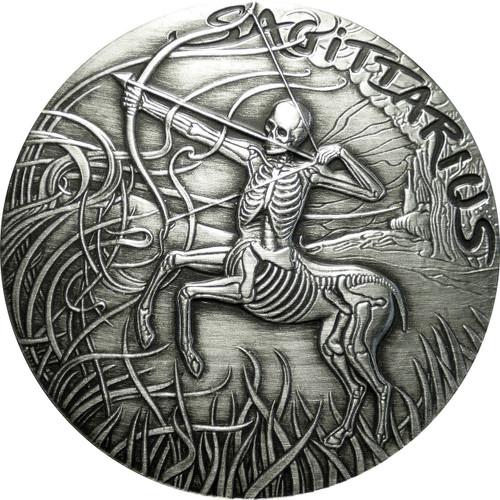 Sagittarius Memento Mori Zodiac Skull Horoscope Silver 1 oz Coin High Relief