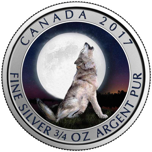WOLF Moon 3/4 oz Color coin $2 2017