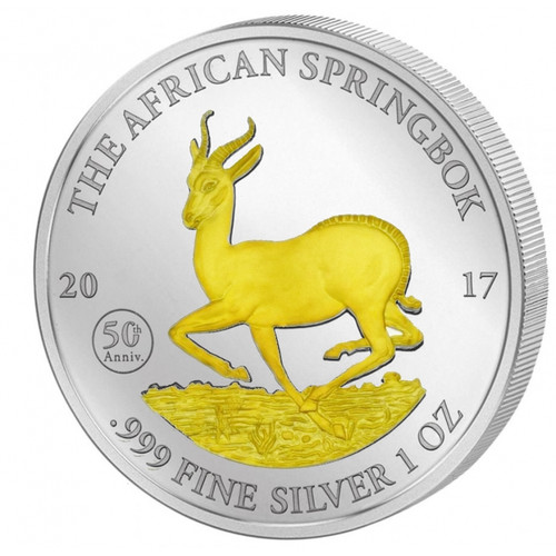 The AFRICAN SPRINGBOK - GABON - 1 oz Pure Silver Coin 2017