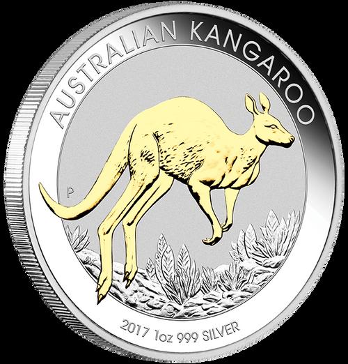 AUSTRALIAN KANGAROO - GILDED EDITION - 2017 1 oz Pure Silver Coin