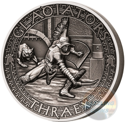 THRAEX Gladiators 2 Oz Silver Coin 5$ Solomon Islands 2017