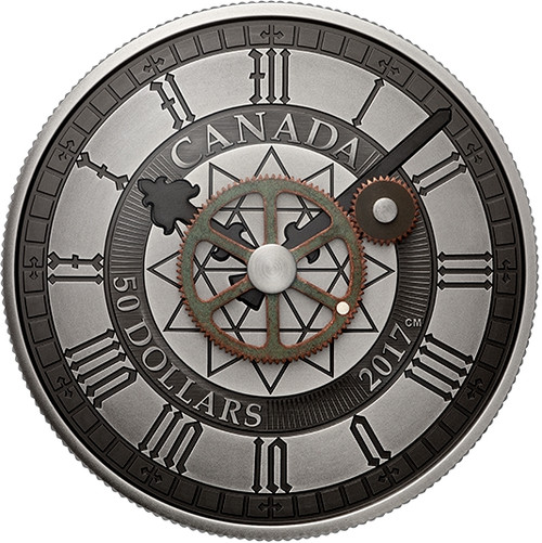 5 oz PEACE TOWER CLOCK 90th Anniversary $50 Pure Silver Coin Canada 2017