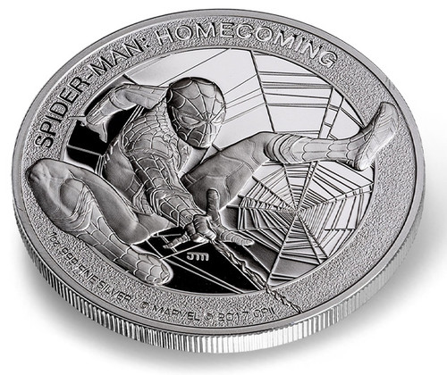 SPIDER-MAN HOMECOMING - JOHN MERCANTI DESIGN 2017 1 oz Silver Coin