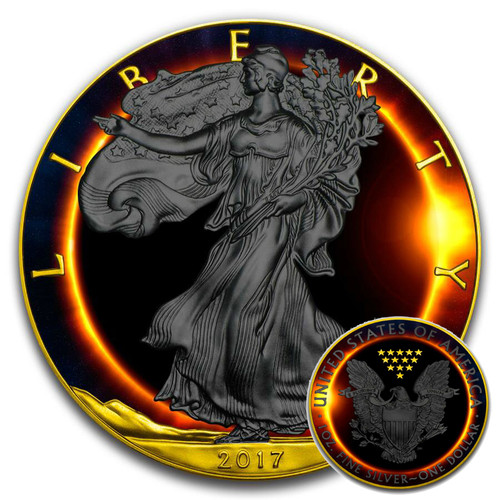 TOTAL SOLAR ECLIPSE - 2017 American Silver Eagle 1 oz Silver Coin - Black Ruthenium & Gold Plated