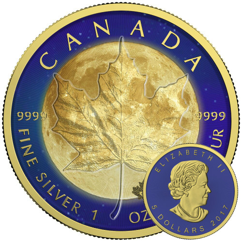 MAPLE LEAF MOON - 1 oz Pure Silver Coin - Color and 24K Gold Gilding 2017 Canada