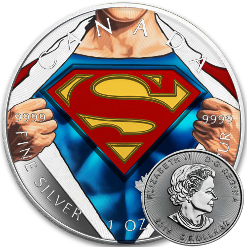 SUPERMAN SHIRT - 2016 Canadian 1 oz Pure Silver Coin - Color