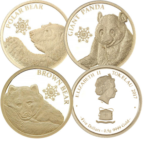 SNOWFLAKE BEARS Set 3 x 0.5 g Pure Gold Coin Tokelau 2018  set