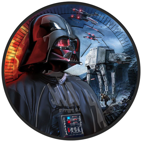 DARTH VADER - AT-AT WALKER - STARWARS - 2017 1 oz Silver Coin - Color & Ruthenium