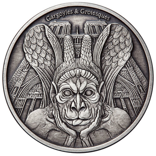 SPITTER Gargoyles and Grotesques Notre Dame de Paris Antique Finish 1 Oz Silver Coin 1000 Francs Chad 2017
