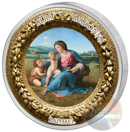 ALBA MADONNA RAPHAEL Perfection in Art 2 Oz Silver Coin 10$ Niue 2017