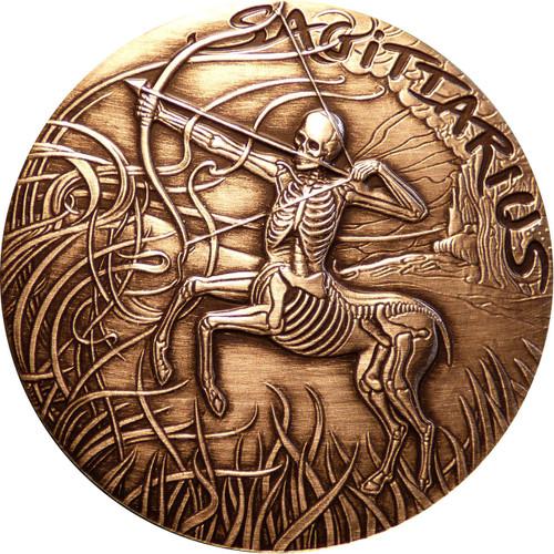 Sagittarius Zodiac - MEMENTO MORI Rimless HR Antique Copper 1oz