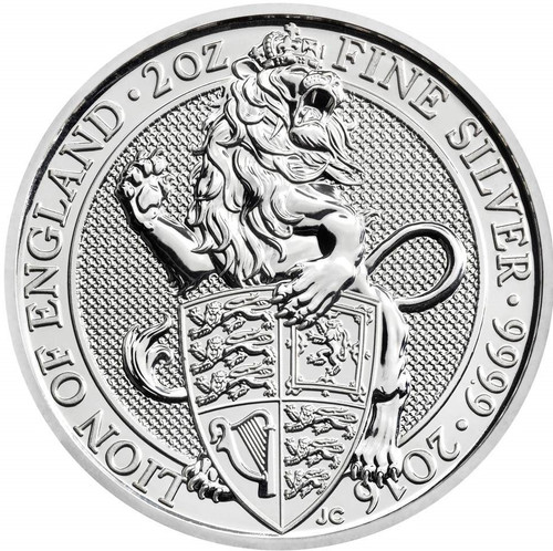 THE LION OF ENGLAND - THE QUEEN'S BEASTS - 2 oz Silver Coin 2016 UK
