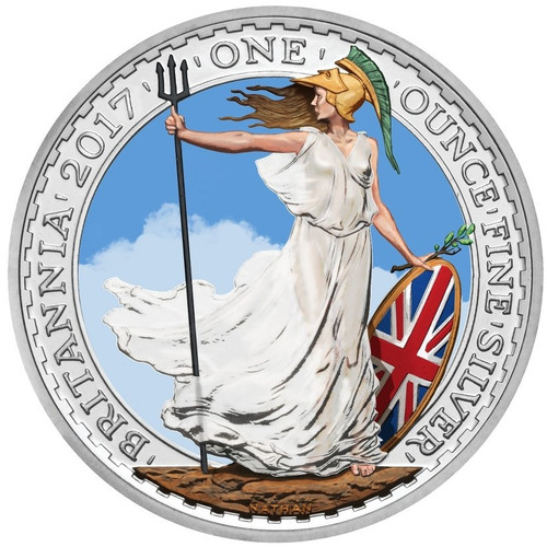 UK BRITANNIA Color Shield Silver Coin 2017 UK