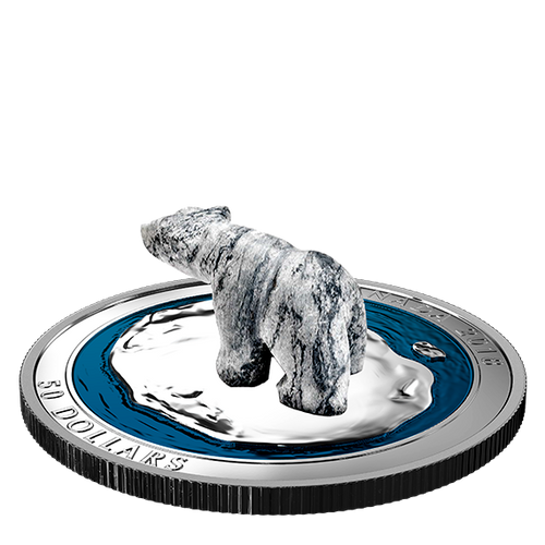 POLAR BEAR Soapstone Sculpture 5 OZ $50 Silver Proof Coin 2018 Canada