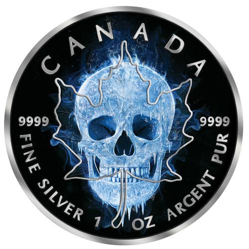 ICE SKULL Maple Leaf 1 Oz Silver Coin 5$ Canada 2017