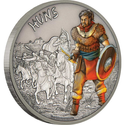 HUNS - WARRIORS OF HISTORY - 2017 1 oz Fine Silver Coin - Niue