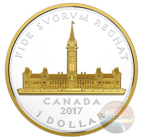PARLIAMENT BUILDING - effigy of King George VI  Renewed Silver Dollar Coin 2017  Canada