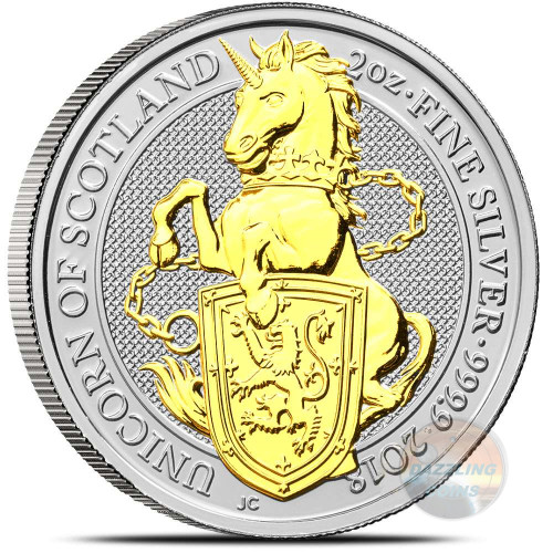 UNICORN OF SCOTLAND - THE QUEEN'S BEASTS 2 oz Silver Gilded Coin 2018 UK