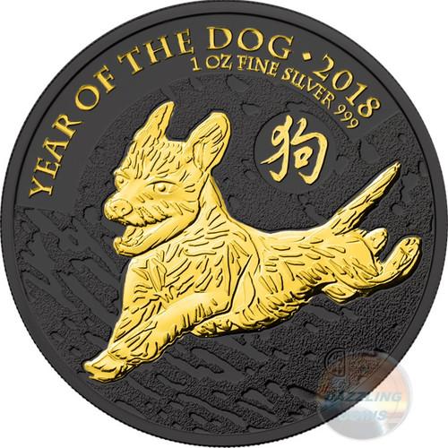 LUNAR DOG 1 oz Silver Gold Black Empire Coin 2018 UK