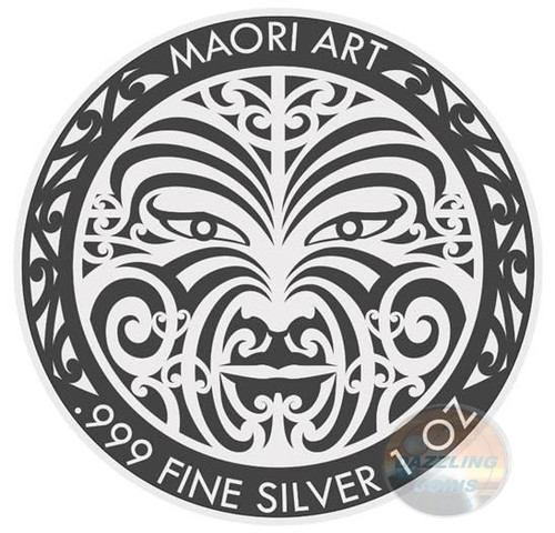MAORI MOKKO Art Ruthenium 1 Oz Silver Coin 5$ Tokelau 2017
