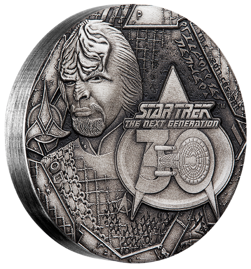 LIEUTENANT COMMANDER WORF - STAR TREK: THE NEXT GENERATION - 2017 2 oz Pure Silver Antiqued Coin