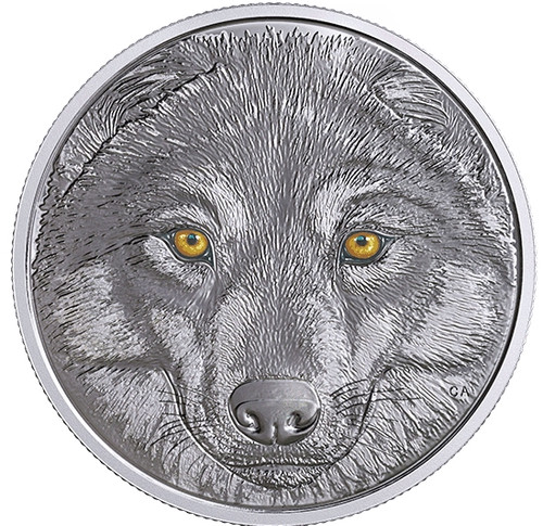 WOLF Glow-In-The-Dark Eyes $15 Silver Coin 2017 Canada